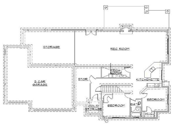 House Plan Design - Traditional Floor Plan - Lower Floor Plan #5-255