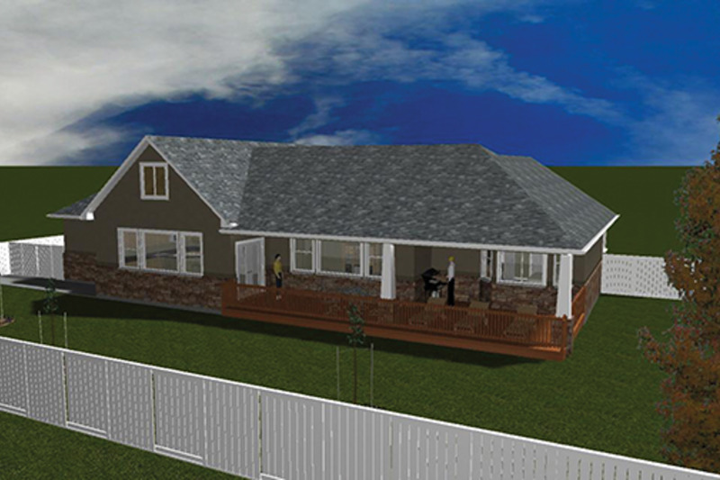Ranch Exterior - Rear Elevation Plan #1060-2 - Houseplans.com