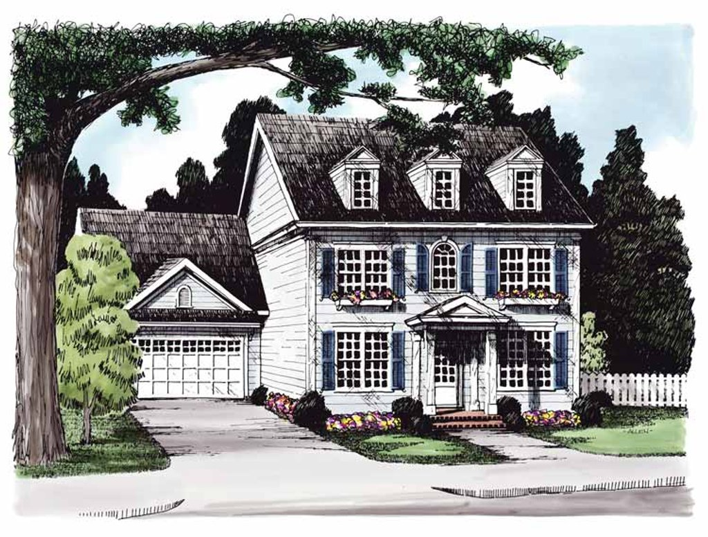 Classical Exterior Front Elevation Plan 927 614