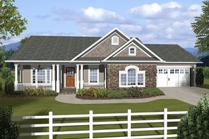 Home Plan Design - Ranch, Craftsman, Front Elevation