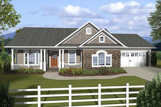Ranch, Craftsman, Front Elevation