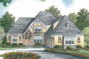 Architectural House Design - Tudor Exterior - Front Elevation Plan #453-447