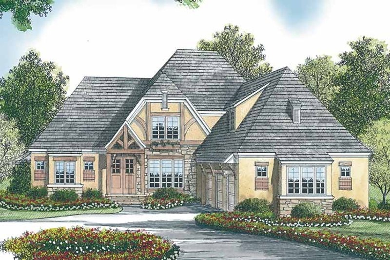 Tudor Exterior - Front Elevation Plan #453-447 - Houseplans.com