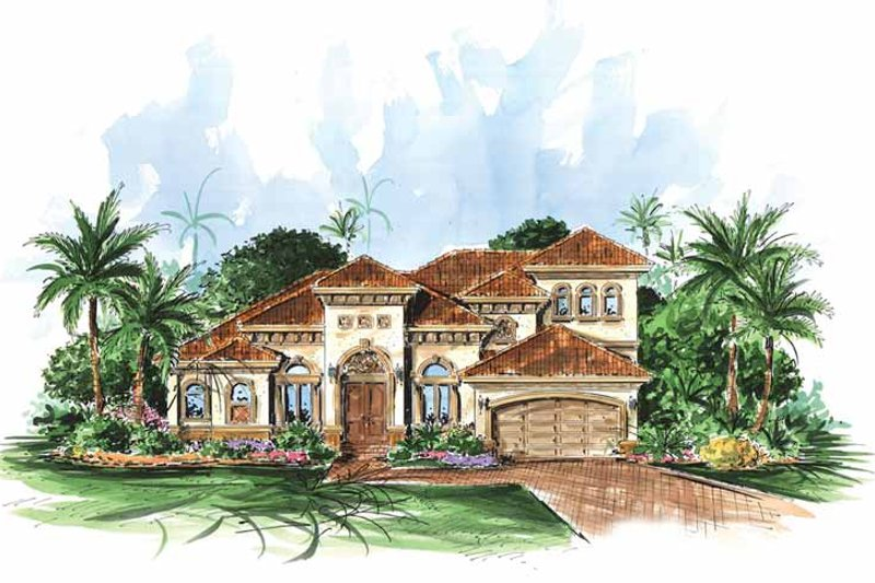 Mediterranean Exterior - Front Elevation Plan #1017-27