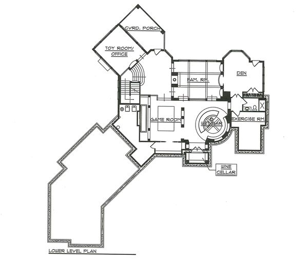 Lower Level Floor Plan - 7000 square foot European home