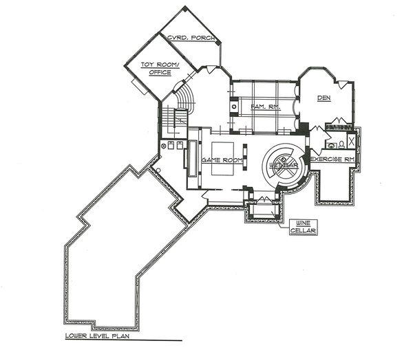 House Plan Design - Lower Level Floor Plan - 7000 square foot European home