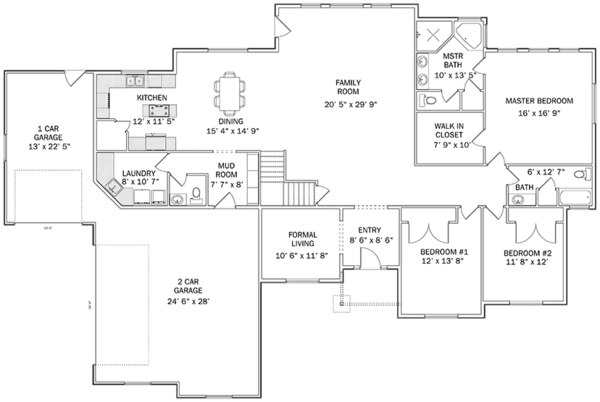 Ranch Floor Plan - Main Floor Plan Plan #1060-26