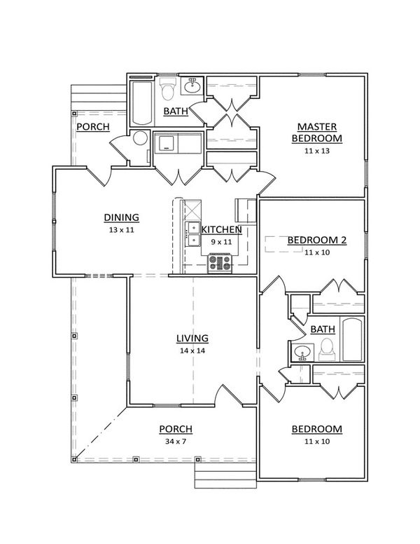 Craftsman Floor Plan - Main Floor Plan Plan #936-29