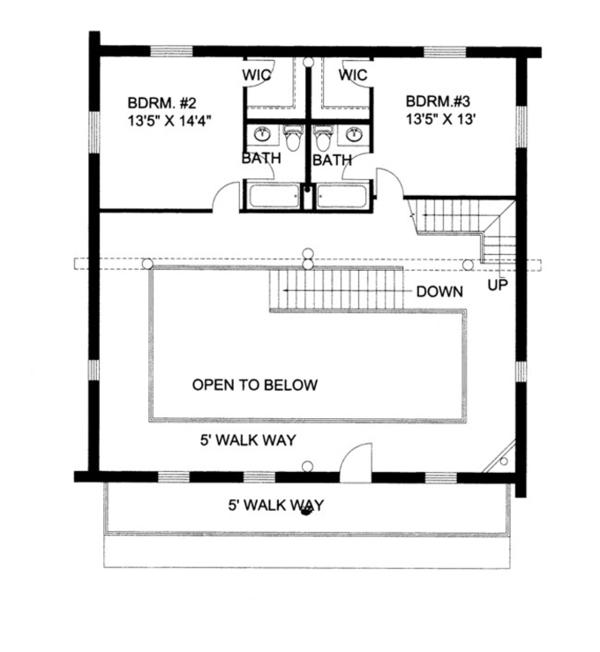 Log Floor Plan - Upper Floor Plan Plan #117-822