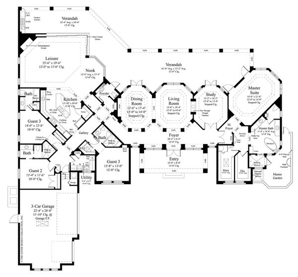 Mediterranean Style House Plan - 4 Beds 4.5 Baths 4030 Sq/Ft Plan #930-473 Floor Plan - Main Floor Plan