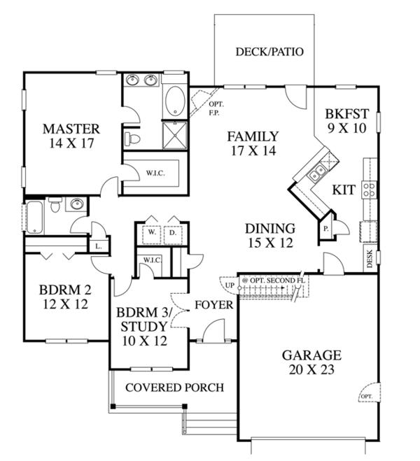 Ranch Floor Plan - Main Floor Plan Plan #1053-44