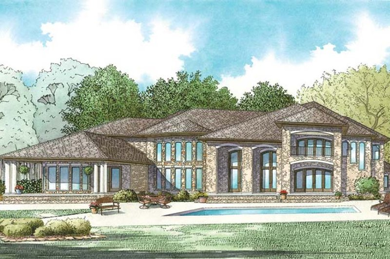 European Exterior - Rear Elevation Plan #17-3401 - Houseplans.com