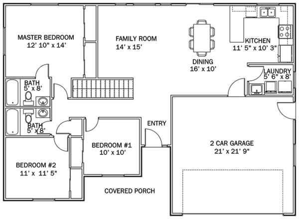Ranch Floor Plan - Main Floor Plan Plan #1060-36