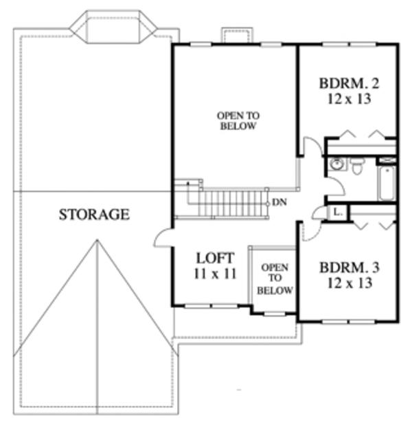 Country Floor Plan - Upper Floor Plan Plan #1053-70