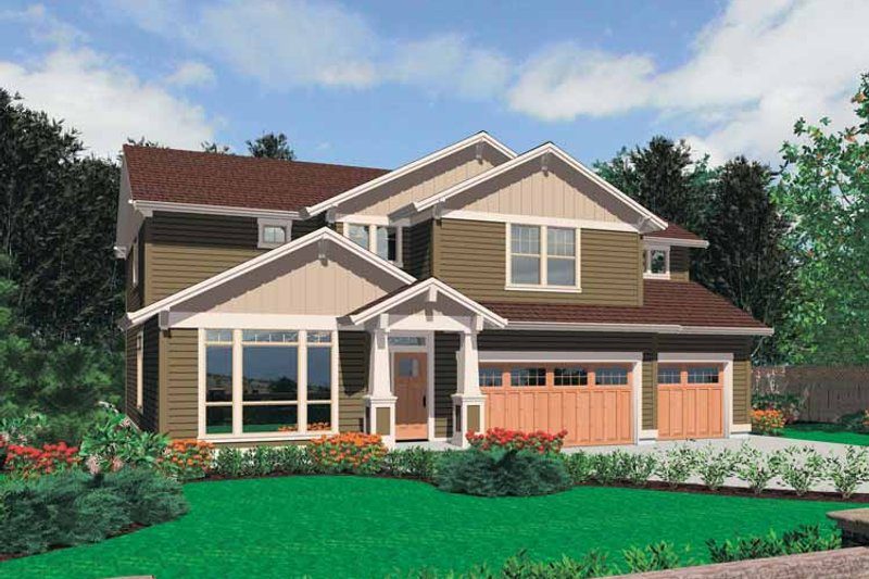 Craftsman Exterior - Front Elevation Plan #48-809