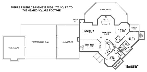 Architectural House Design - European Floor Plan - Lower Floor Plan #119-432