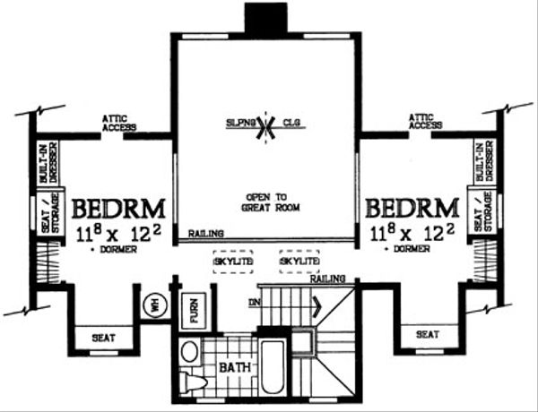Country Floor Plan - Upper Floor Plan Plan #72-484