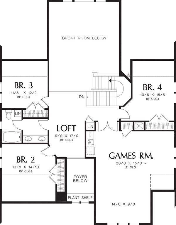 Upper Level Floor Plan - 3400 square foot Craftsman home