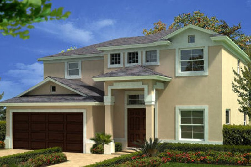 Mediterranean Style House Plan - 4 Beds 2.5 Baths 1916 Sq/Ft Plan #420-224 Exterior - Front Elevation