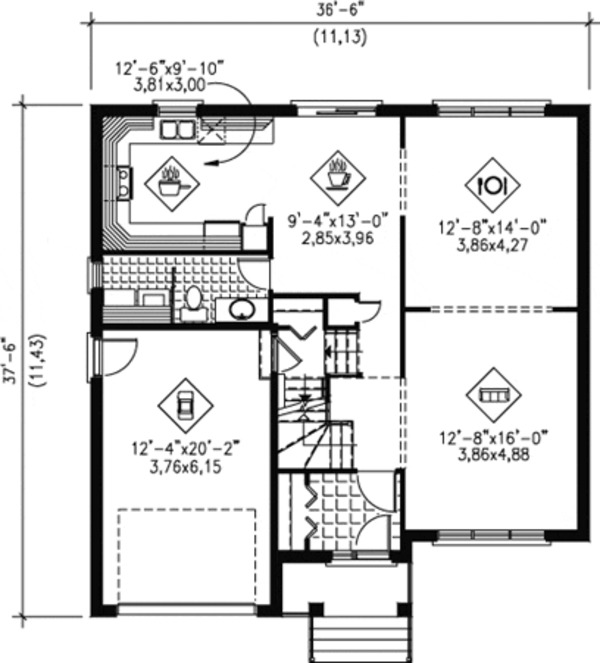 Traditional Floor Plan - Main Floor Plan Plan #25-4254