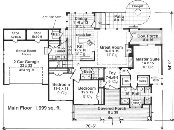 House Plan Design - Craftsman style house plan, main level floor plan
