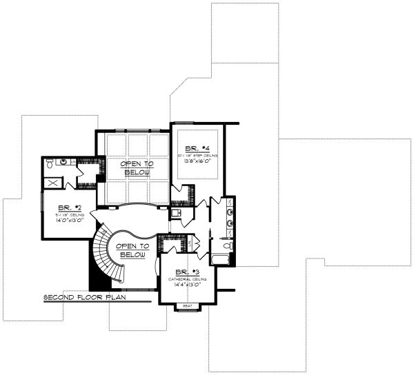Traditional Floor Plan - Upper Floor Plan Plan #70-1297