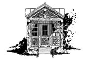 Log Style House Plan - 1 Beds 1 Baths 216 Sq/Ft Plan #942-45 Exterior - Front Elevation
