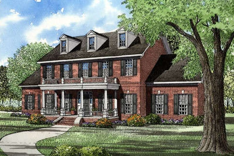 Southern Style House Plan - 5 Beds 3.5 Baths 3394 Sq/Ft Plan #17-227 Exterior - Front Elevation
