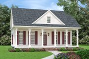 Cottage Style House Plan - 3 Beds 3 Baths 1370 Sq/Ft Plan #45-595 Exterior - Front Elevation