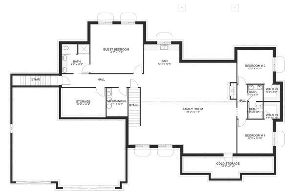 House Design - Ranch Floor Plan - Lower Floor Plan #1060-99