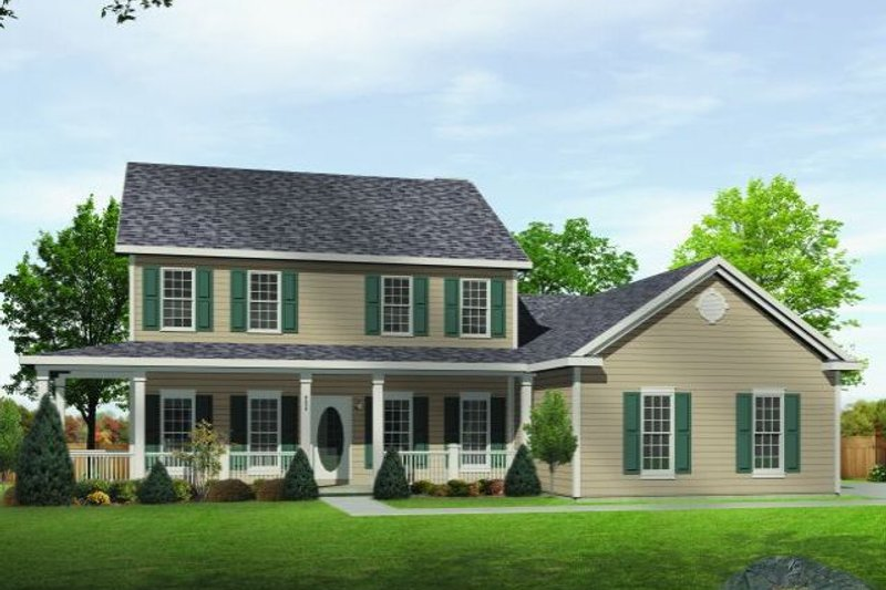 Country Style House Plan - 4 Beds 3.5 Baths 2440 Sq/Ft Plan #22-515 Exterior - Front Elevation