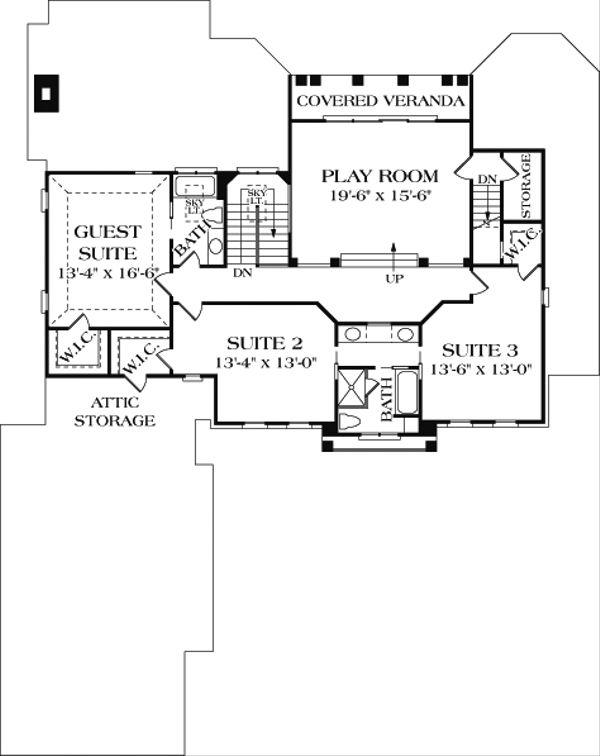 Colonial Floor Plan - Upper Floor Plan Plan #453-17
