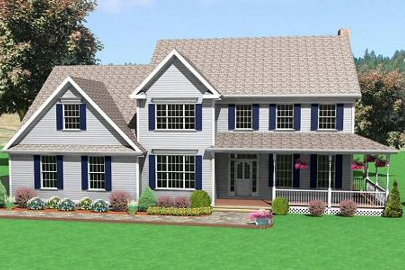 Traditional Style House Plan - 4 Beds 2.5 Baths 3067 Sq/Ft Plan #75-180 Exterior - Front Elevation