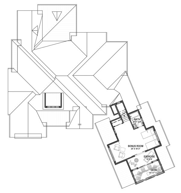 Farmhouse Floor Plan - Upper Floor Plan Plan #1069-21
