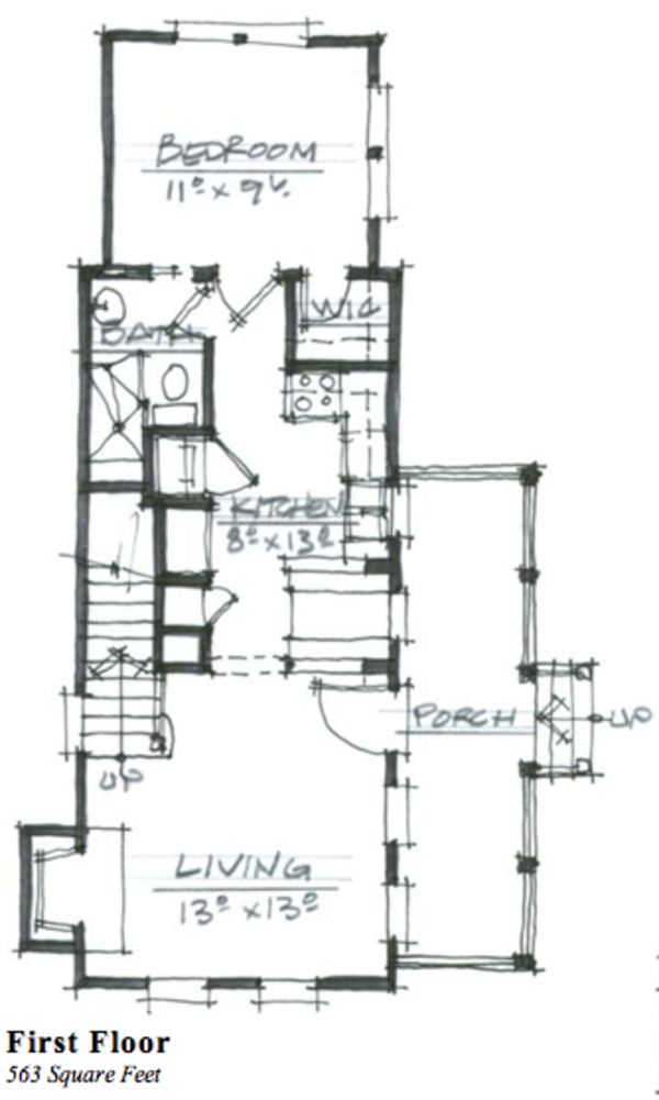 Cottage Style House Plan - 2 Beds 2 Baths 963 Sq/Ft Plan #464-6 Floor Plan - Main Floor Plan