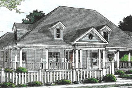 Country Exterior - Front Elevation Plan #20-2039