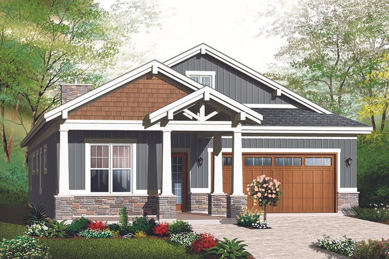 Ranch Style House Plan - 3 Beds 2 Baths 1883 Sq/Ft Plan #23-2655 Exterior - Front Elevation