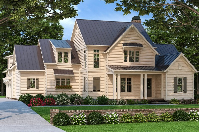 Farmhouse Style House Plan - 4 Beds 4.5 Baths 3136 Sq/Ft Plan #927-996 Exterior - Front Elevation