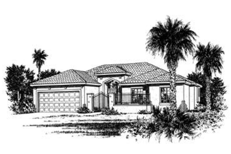 Mediterranean Exterior - Front Elevation Plan #20-478