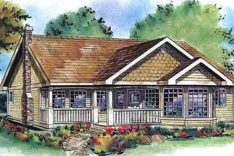 Country Style House Plan - 3 Beds 2 Baths 1822 Sq/Ft Plan #18-4517 Exterior - Front Elevation