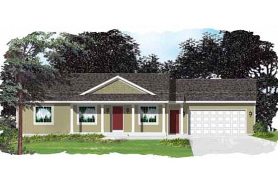 Ranch Exterior - Front Elevation Plan #49-281