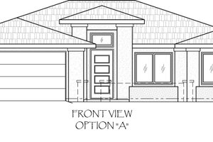 Adobe / Southwestern Exterior - Front Elevation Plan #24-218