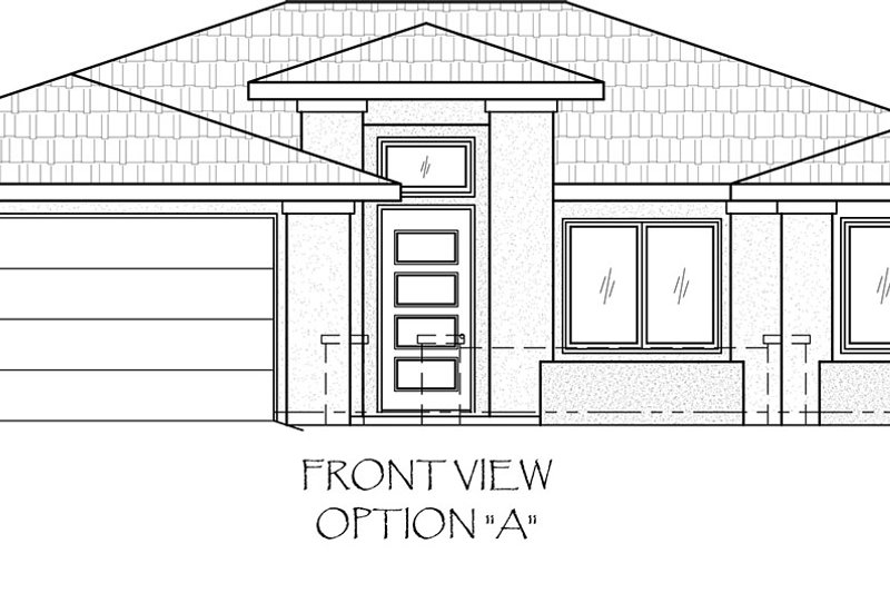 Adobe / Southwestern Style House Plan - 3 Beds 2 Baths 1443 Sq/Ft Plan #24-218 Exterior - Front Elevation