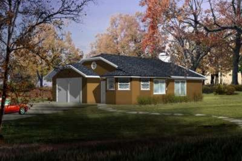 Ranch Style House Plan - 2 Beds 2 Baths 1079 Sq/Ft Plan #1-202 Exterior - Front Elevation