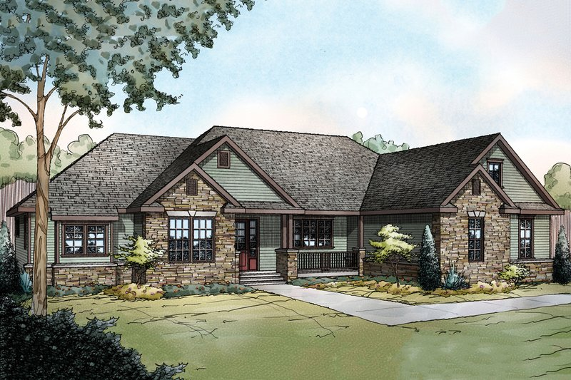 Ranch Style House Plan - 3 Beds 2.5 Baths 2283 Sq/Ft Plan #124-887 Exterior - Front Elevation