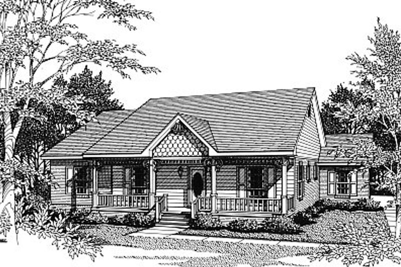 Victorian Style House Plan - 3 Beds 2 Baths 1463 Sq/Ft Plan #14-131 Exterior - Front Elevation