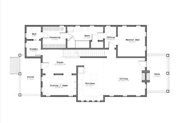 Contemporary Floor Plan - Main Floor Plan Plan #926-4