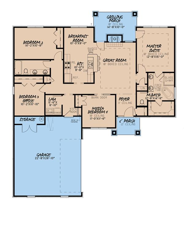 Mediterranean Floor Plan - Main Floor Plan Plan #923-124