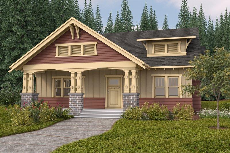 Home Plan - Bungalow style, Craftsman design front elevation