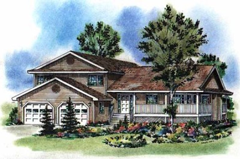 House Blueprint - Country Exterior - Front Elevation Plan #18-259
